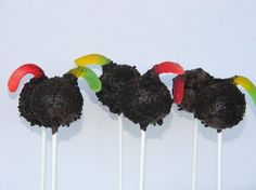 Dirt Pops These fun pops are made from a double chocolate delight cake pop that has been covered in cookie crumbs with a gummy worm trying to wiggle its way in!