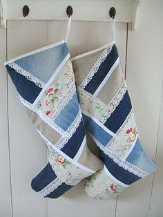 denim and lace - Santa Socks