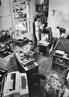 First novel written on a computer? Len Deighton and his IBM word processor, London, 1968.  Courtesy of Adrian Flowers
