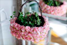 pink roses, wicker baskets, pink flowers, flower girl basket, flower baskets