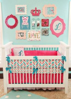 Crib : A Newport Cottages crib and Pottery Barn Teen rug accentuate a wall of art.  Source: Caden Lane