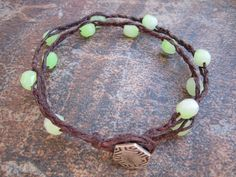 Double waxed linen bracelet with czech glass beads by Bent Tree Crafts, via Flickr