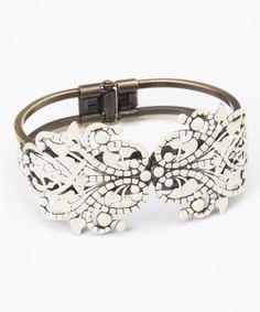 Cream Piper Hinged Bangle bracelet, bling, accessori, baubl, closet, bangles, dazzl, dud, cream