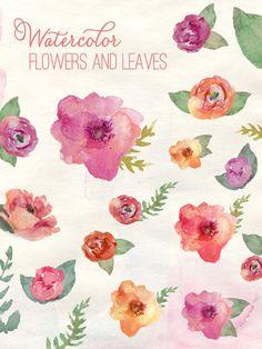 Watercolor Flowers - Clip Art via Etsy.