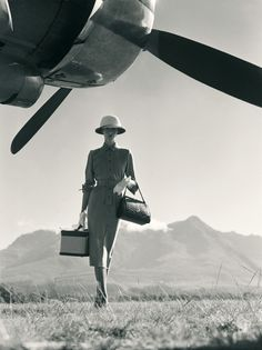 . travel chic, british, airports, art, old styles, norman parkinson, business design, fashion photography, vintage travel