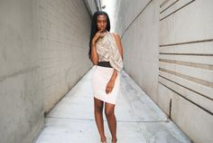 Colorblock Wiggle Dress Women Clothing Semi Sheer by FineThreadz, $98.00