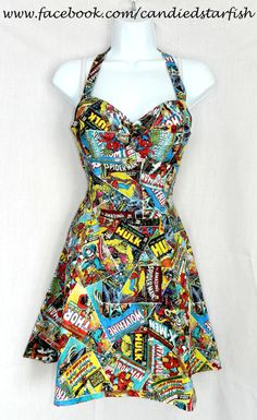 Custom size. Marvel Avengers comic book dress by CandiedStarfish, $50.00