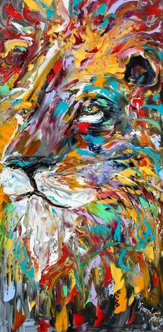 Abstract impressionism LION ANIMAL PORTRAIT by Karensfineart