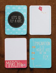 Free March Fly A Kite Journaling Card Set