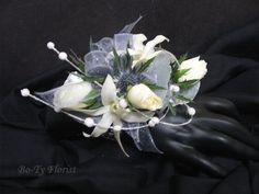 blue thistl, white flowers, flower accent, pearl spray, prom flower
