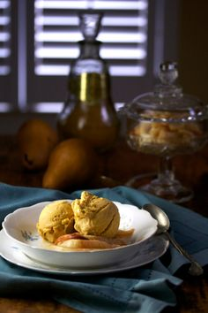 Salty Caramel Ice Cream with Roasted Pears