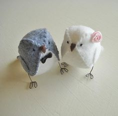 Fabric wedding cake topper birds  - light grey and white with pink ribbon on Etsy, $32.00