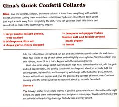 """Gina's Quick Confetti Collards   Recipe from celebrity chef Pat Neely's new cookbook """"Back Home with the Neely's."""" It's all good, old-fashioned soul food."""