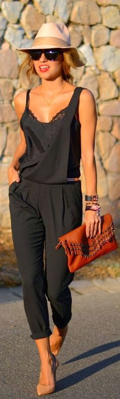 street fashion, nude shoes, summer styles, street styles, summer outfits, black jumpsuit, spring outfits, jumper, hat