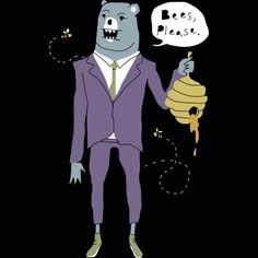 Bees, Please. Honey Bear is a T Shirt designed by obinsun to illustrate your life and is available at Design By Humans