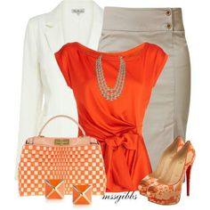 Pretty for the 1st day at a new job. shoes, work clothes, fashion, style, color, shirts, pencil skirts, oranges, work outfits