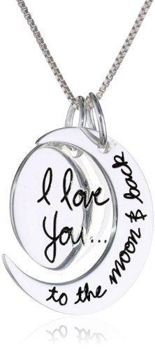 "Sterling Silver ""I Love You To The Moon and Back"" Pendant Necklace, 18"""