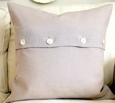 20 x 20 Decorative Pillow Cover Flax Linen Vintage button closure. $35.00, via Etsy.