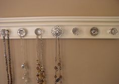 jewelry/necklace  holder organizer with 7 decorative by Gotahangup, $38.00            cool idea for all those old knobs that I have