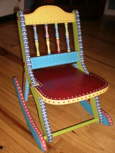Hand Painted Folk Art Rocking Chair-Whimsical Childs Chair-Gypsy Folk Art ~ via Etsy.