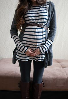 like the striped shirt with three-quarter sleeve sweater
