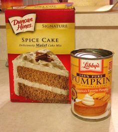 Pumpkin spice muffins 2 weight watcher points each  15 oz. can of pumpkin pie filling 1 spice cake mix Mix together  Spoon into muffin pan with baking cups Bake 350 for 25 min.