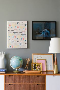 Mid Century Credenza | Grey wall | Meghan McEwen's house | via Design Sponge