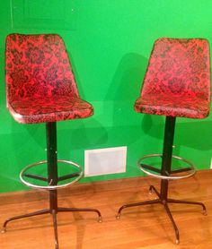 A Pair Of TRULY Vintage Mid Century Modern High Back Bar Chairs Stools!!!! on Etsy, $350.00
