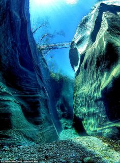 The Verzasca River in Switzerland is so clean you can see down 50 feet to the riverbed as shown in this underwater shot, via pinterest...