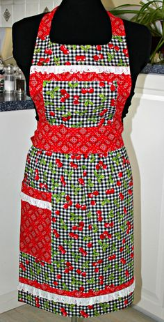 Cherries Eyelet and Gingham Full Apron by sewmuch2luv on Etsy, $59.00