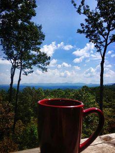 Morning coffee with mountains - Blue Ridge Georgia