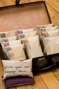 DIY lavender filled sachets from cloth reprints of old letters and postcards.