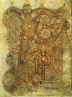 Chi Rho Monogram Page, Book of Kells (Gospels of Columkille) late 8th century. Initial page with first letter enlarged. Survives Viking raids of 804 on island of Iona & carried off to Kells. The initial letters of Christ in Greek, XPI (chi-rho-iota), occupy the whole page.
