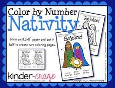 FREE color by number nativity page