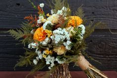 Rustic Chic Orange and Buttercream Wedding Bouquet, Bridal Bouquet, Country Chic, Dried Wild Flower Bouquet, Sola Flower Bouquet