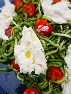 Pesto Coodles (Courgette Noodles) with Burrata and Cherry Toms - The Londoner