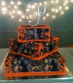 Camo country wedding sweet 16 cakes, glasses, country weddings, camo cakes, brides, wedding cakes, oranges, blues, camouflage