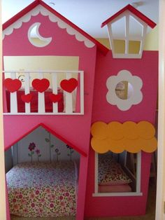 "AWESOME project involving a bunkbed ""dollhouse"" and some of our wall decals. ^nk"