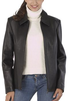 Leather jackets are so chic and you can wear them with any outfit. My favorite is this black BGSD Women's Zip Front Lambskin Leather Jacket.  Wear a pair of black leather boots for a sleek trendy look.  $189.99 http://www.luxurylane.com/415-121332-blk.html