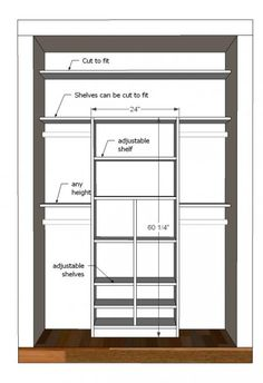 Plans for custom closet built-in (can be made child-height for easy chore completion)   FREE plans on Ana's site!