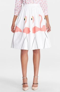 Head over heels for flamingos! Love the Alice + Olivia midi puffed skirt.