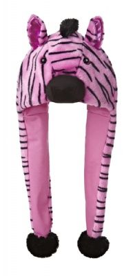 Pink Zebra Pom Hat at theBIGzoo.com, a toy store featuring 3,000+ stuffed animals.