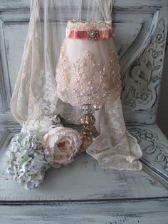 Lace Lamp Shade with Velvet Ribbon and Vintage Jewelry