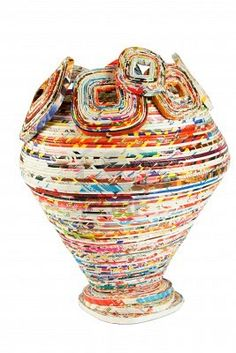 colored basket made from recycled paper