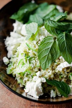 Couscous with zucchini, lemon, mint and feta cheese