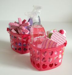 You know what's great about young kids?  They LOVE cleaning.  I'm giving mine these pink/purple/heart themed cleaning kits - they'll love getting them and I'll love all the cleaning that ensues :).