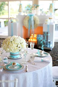 #Tiffany #blue and #white #decor @Brook Hamrick Hamrick Cunningham this is a whole tiffany blue/ winter wedding! Thought you'd appreciate <3