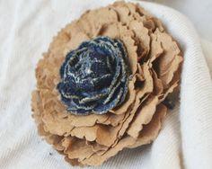 Cardboard Hair Pin with Denim Rose Bud by BlueGeneBaby on Etsy, $9.00