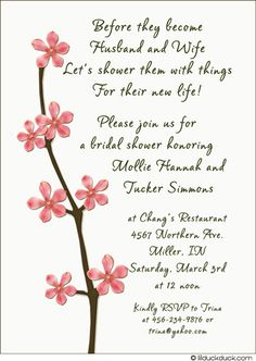couples wedding shower invitation wording