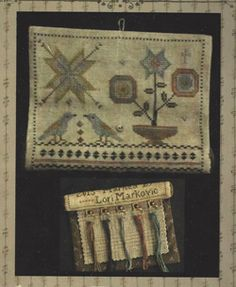 """""""Birdy Stitching Roll Kit"""" is a cross stitch design by Lori Markovic of La-D-Da. Stitched on 30 count Weeks Straw linen using one strand of thread over two linen threads.  Approx finished size is 7 x 7""""."""